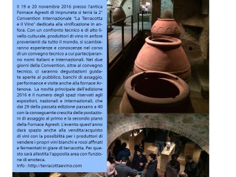 "In the October issue of Gola Gioconda a whole page is dedicated to ""Terracotta and Wine 2016"""