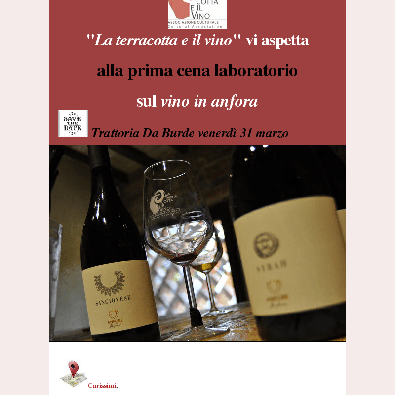 Cena laboratorio sui vini in in anfora venerdì 31 marzo 2017 da Burde con l'Associazione La terracotta e il vino