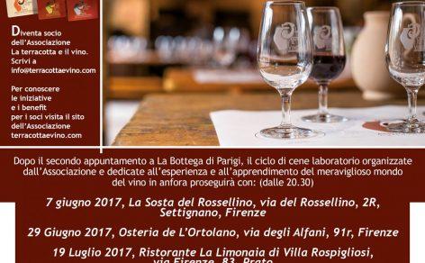 Cene laboratorio sui vini in anfora con l'Associazione La terracotta e il vino: il calendario dei prossimi mesi