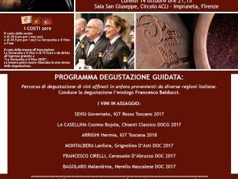 """Vini in anfora, il viaggio continua. Degustazione guidata il 14 ottobre 2019 a Impruneta con """"La terracotta e il vino"""""""